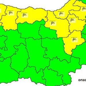 Жълт код за силен вятър утре в Русе и още 8 области в страната
